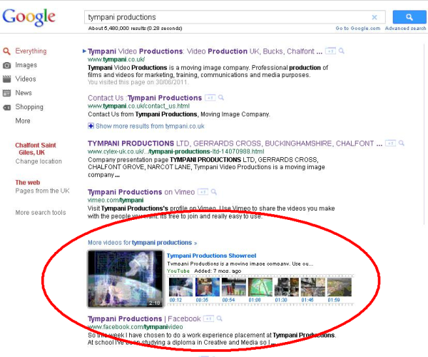 Video on first page of Google